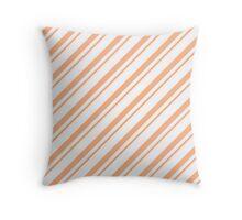 Peach Thin Diagonal Stripes Throw Pillow