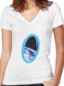 Portal 2: view from the moon Women's Fitted V-Neck T-Shirt