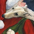 Greyhound and Santa  by Charlotte Yealey
