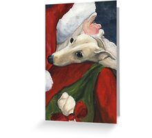 Greyhound and Santa  Greeting Card