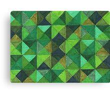 Abstract Art Study - Green Diamonds Canvas Print