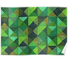Abstract Art Study - Green Diamonds Poster