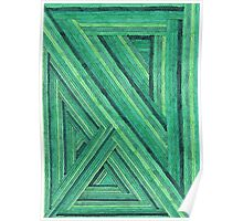 Abstract Art Study - Green Stripes Poster