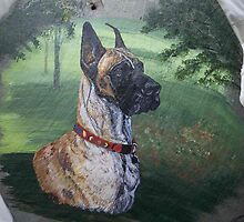 Great Dane Portrait on Slate by PetRockGal