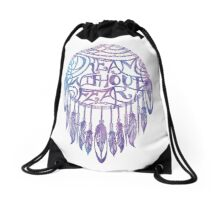 Dream Without Fear Watercolor Dreamcatcher Drawstring Bag