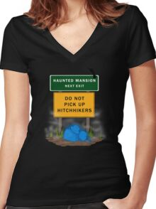 Beware of Hitchhiking Ghosts Women's Fitted V-Neck T-Shirt
