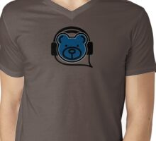 Grooving Bear (Blue) Mens V-Neck T-Shirt