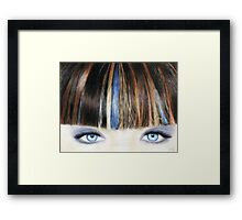 Blue Eyes Coloured Pencil Drawing (Vibrant) Framed Print