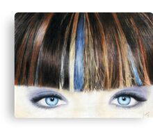Blue Eyes Coloured Pencil Drawing (Vibrant) Canvas Print