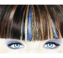 Blue Eyes Coloured Pencil Drawing (Vibrant) Photographic Print