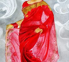 A Lady  In  Red Saree  by BeenaKhan