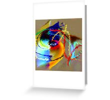 One eyed scrutiny under the mask of ying-yang duality Greeting Card
