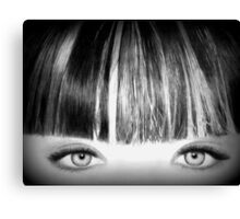 Blue Eyes Pencil Drawing in Black and White  Canvas Print