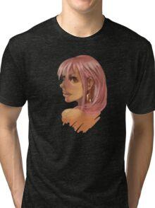 Pink Hair Big Eyes Tri-blend T-Shirt