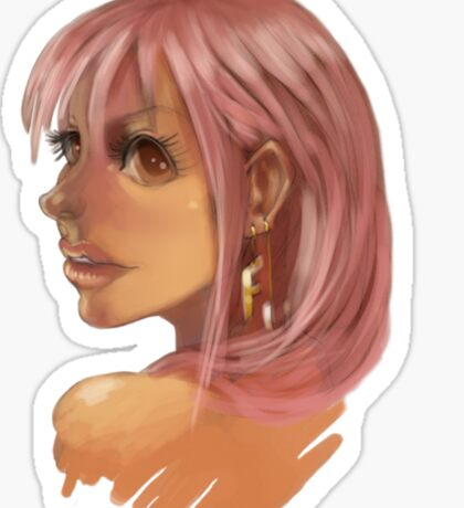 Pink Hair Big Eyes Sticker