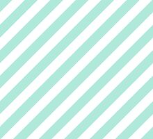 Mint Thick Diagonal Stripes by ImageNugget