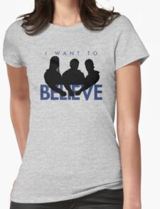 I Want to Believe (White) Womens Fitted T-Shirt