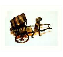 Man with Rusted Cart IV Art Print
