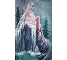 Bride and waterfall Photographic Print