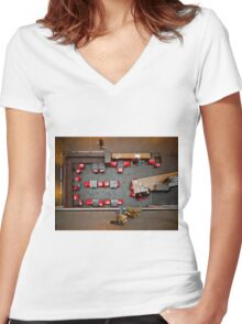 Red Chairs Women's Fitted V-Neck T-Shirt