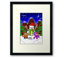 Christmas Snow Man and Children Framed Print