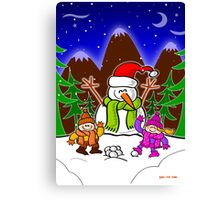 Christmas Snow Man and Children Canvas Print