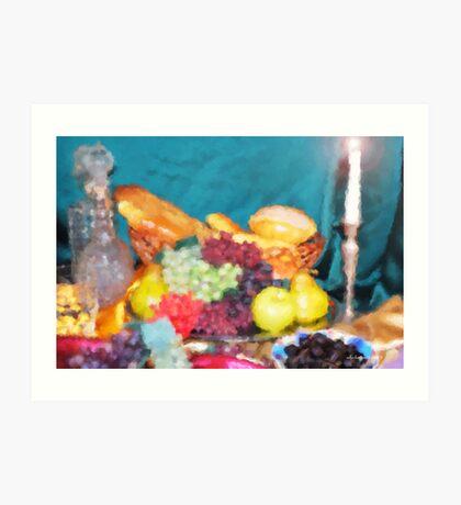 Bread and Fruit Impressionist  Art Print
