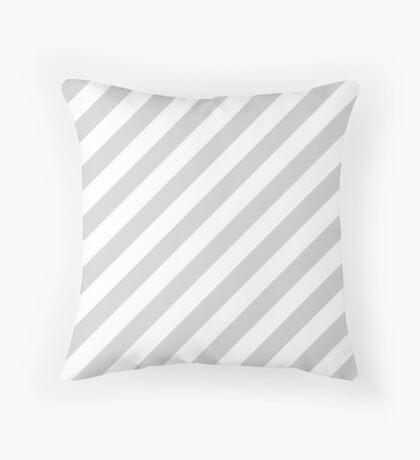 Light-Grey Thick Diagonal Stripes Throw Pillow