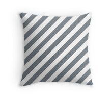Cool-Gray Thick Diagonal Stripes Throw Pillow