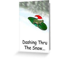Dashing through the Snow...Sledding Frog Greeting Card