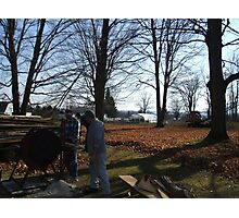 Old Tractor an saw cutting wood Photographic Print