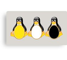 LINUX TUX PENGUIN  3 COLOR EGGS Canvas Print