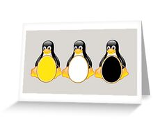 LINUX TUX PENGUIN  3 COLOR EGGS Greeting Card