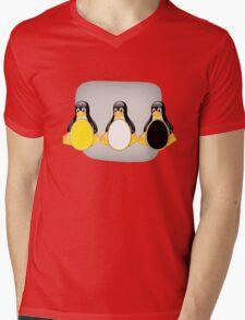 LINUX TUX PENGUIN  3 COLOR EGGS Mens V-Neck T-Shirt
