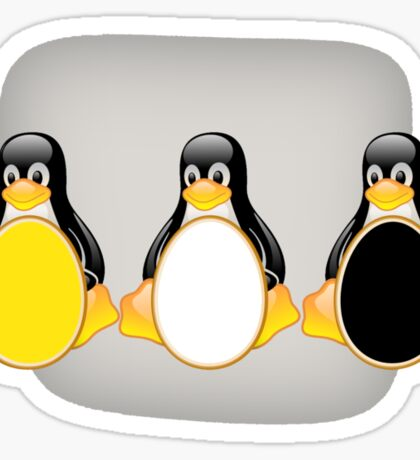 LINUX TUX PENGUIN  3 COLOR EGGS Sticker