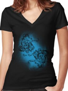 Classic Rose Red Women's Fitted V-Neck T-Shirt