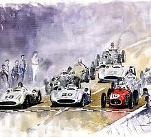 Red Car Maserati 250 Start France GP by Yuriy Shevchuk