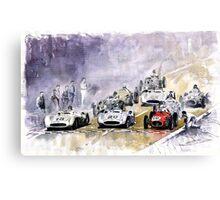 Red Car Maserati 250 Start France GP Canvas Print