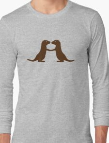 Otters Holding Hands Long Sleeve T-Shirt