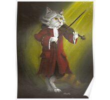 Wolfgang Amadeus Mozart - Cat Composer Violinist Poster
