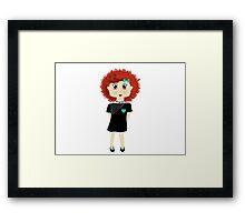 Cute Red Haired Cartoon Girl Illustration Framed Print