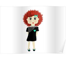 Cute Red Haired Cartoon Girl Illustration Poster