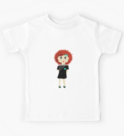Cute Red Haired Cartoon Girl Illustration Kids Tee