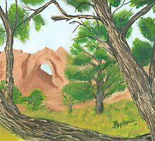 Window Rock Cedar ~ Oil Panting by Barbara Applegate
