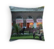 Clarkes Butchers and Benches. Throw Pillow