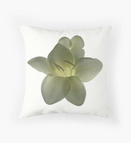 white fresia Throw Pillow