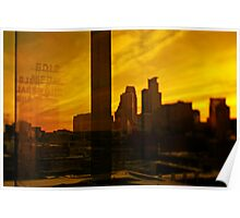golden minneapolis skyline . minnesota Poster