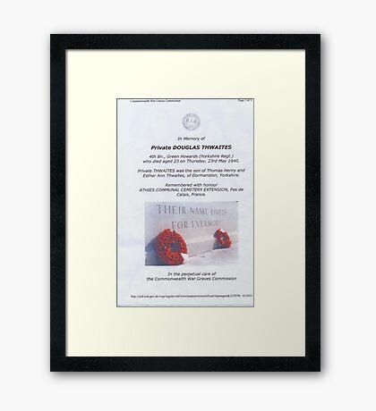 Private Doug Thwaites Framed Print