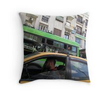 Green driving Throw Pillow
