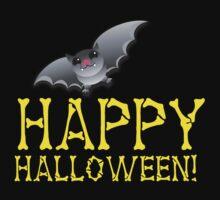 HAPPY HALLOWEEN in bones with cute bat  by jazzydevil